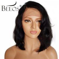 BEEOS Hair Brazilian Virgin Human Hair Lace Front Wig